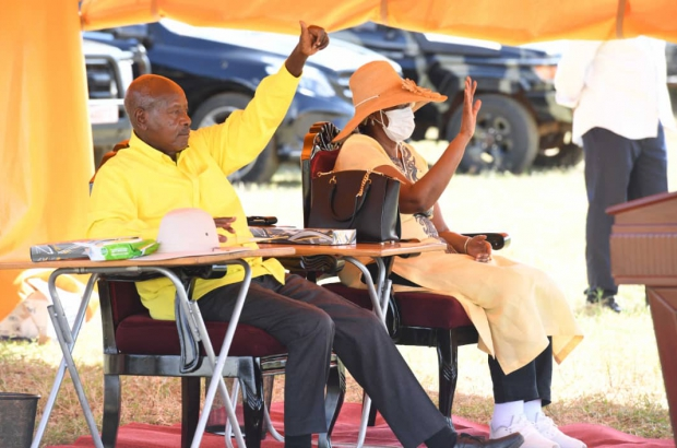 President Museveni accompanied by the first lady Mrs. Janet Kataha Museveni in Moroto.